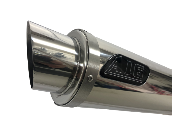 A16 Moto GP Stainless Exhaust with Polished Slashcut Outlet