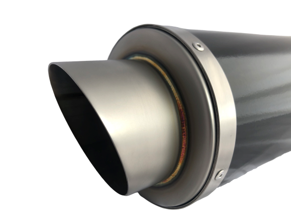 A16 Moto GP Black Stainless Exhaust with Titanium Type Slashcut Outlet