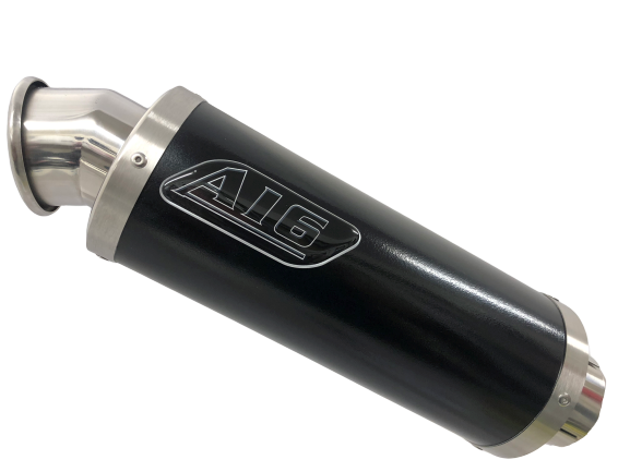 A16 Moto GP Black Stainless Exhaust with Polished Traditional Spout