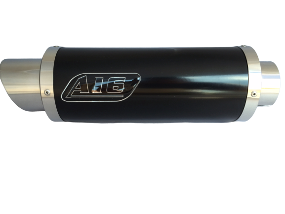 A16 Moto GP Black Stainless Exhaust with Polished Slashcut Outlet