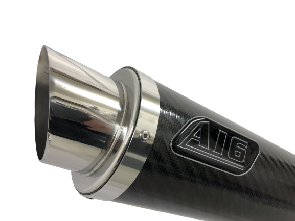 A16 Moto GP Carbon Exhaust with Polished Slashcut Outlet