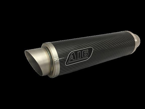 A16 Moto GP 350mm long Carbon Exhaust with Titanium Type Slashcut Outlet