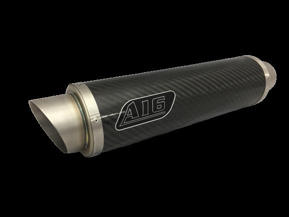 A16 Moto GP Carbon Exhaust with Titanium Type Slashcut Outlet