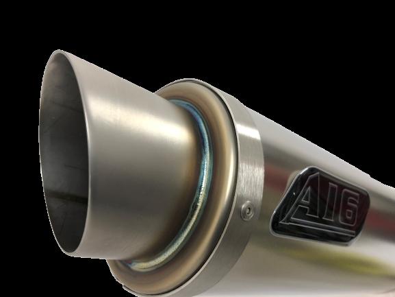 A16 Moto GP Plain Titanium Exhaust with Titanium Type Slashcut Outlet