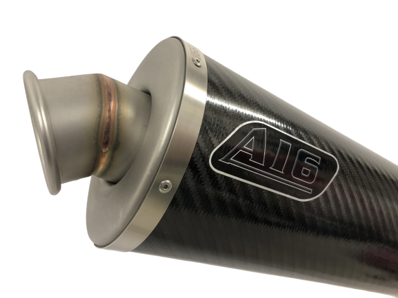 A16 Road Legal Carbon Exhaust with Titanium Type Traditional Spout