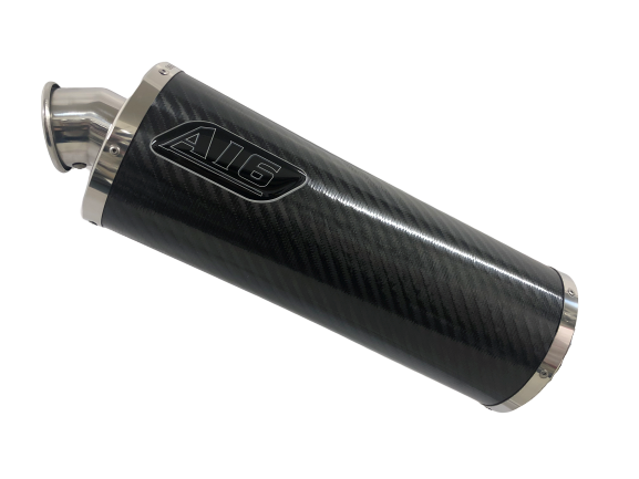 A16 Road Legal Carbon Exhaust with Polished Traditional Spout Outlet