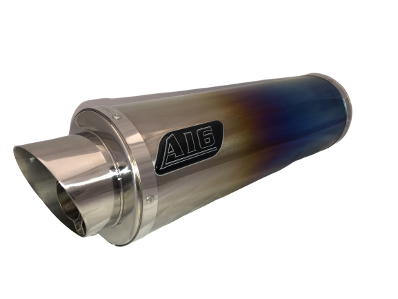 A16 Road Legal Coloured Titanium Exhaust with Polished Slashcut Outlet