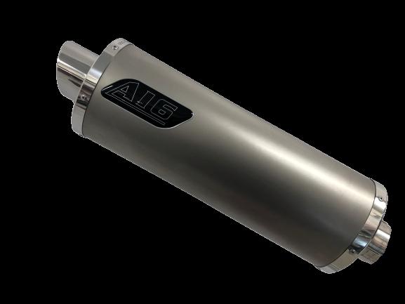 A16 Road Legal Plain Titanium Exhaust with Polished Slashcut Outlet