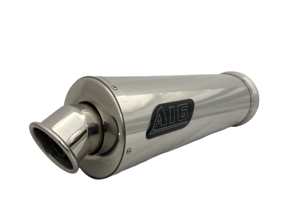 A16 Road Legal Stainless Exhaust with Polished Traditional Spout