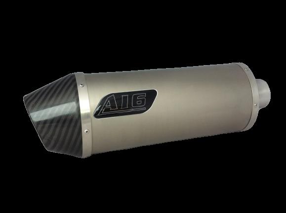 A16 Road Legal Plain Titanium Exhaust with Carbon Cap Outlet