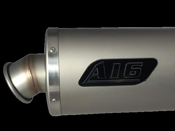 A16 Road Legal Plain Titanium Exhaust with Titanium Type Traditional Spout