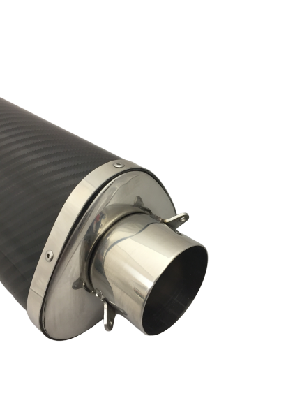 A16 Road Legal Carbon Tri-Oval Exhaust with Polished Traditional Spout