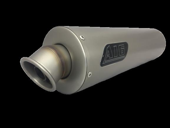 A16 Race 450mm Long Plain Titanium Exhaust - No Rivet Bands
