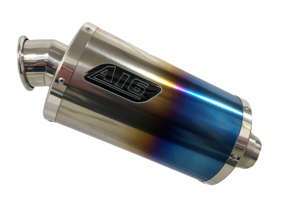 A16 Stubby Coloured Titanium Exhaust with Polished Traditional Spout