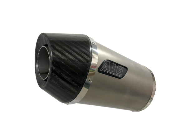 A16 Stubby Plain Titanium Exhaust with Carbon Cap Outlet