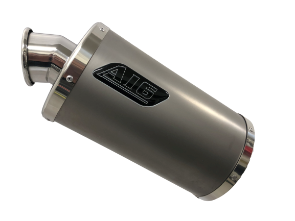 A16 Stubby Plain Titanium Exhaust with Polished Traditional Spout