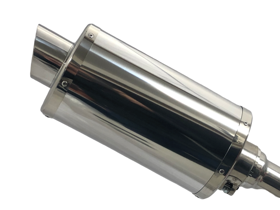 A16 Stubby Stainless Exhaust with Polished Slashcut Outlet