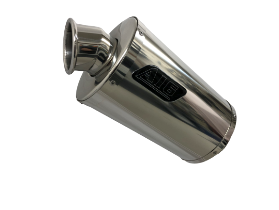 A16 Stubby Stainless Exhaust with Polished Traditional Spout