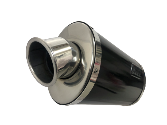 A16 Stubby Black Stainless Exhaust with Polished Traditional Spout