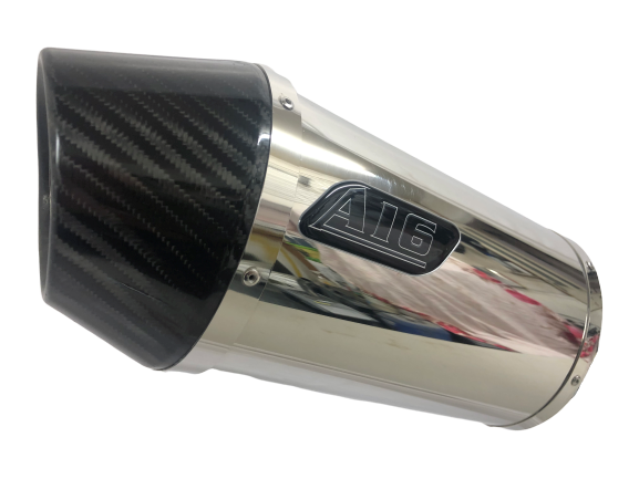 A16 Stubby Stainless Exhaust with Carbon Cap Outlet