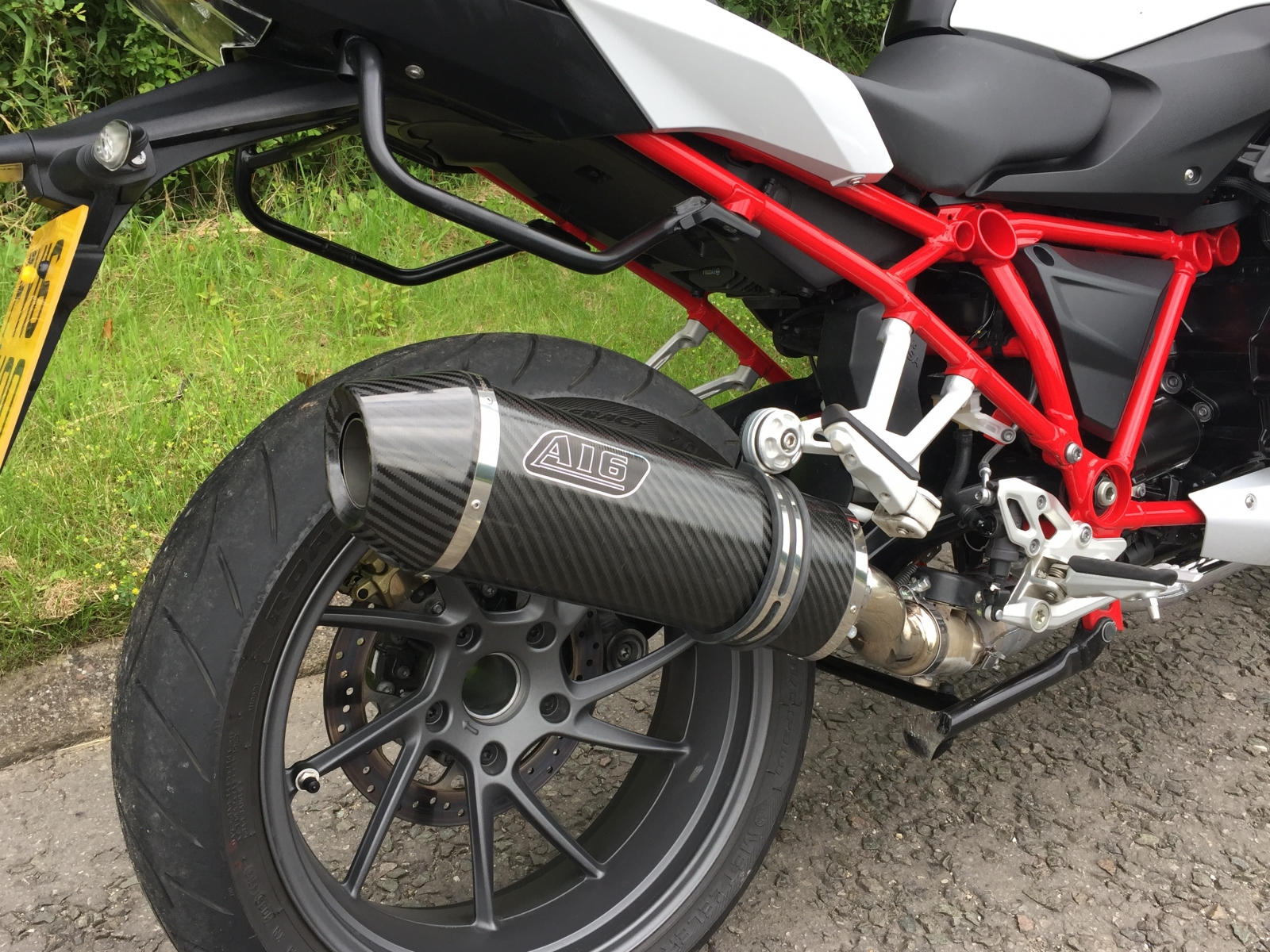 """BMW R1200S 2015 onwards<p>A16 Road Legal Carbon Exhaust with Carbon Cap Outlet</p><br/><a href=""""https://a16roadnracesupplies.co.uk/product/a16-bmw-exhausts/"""">Buy now!</a>"""