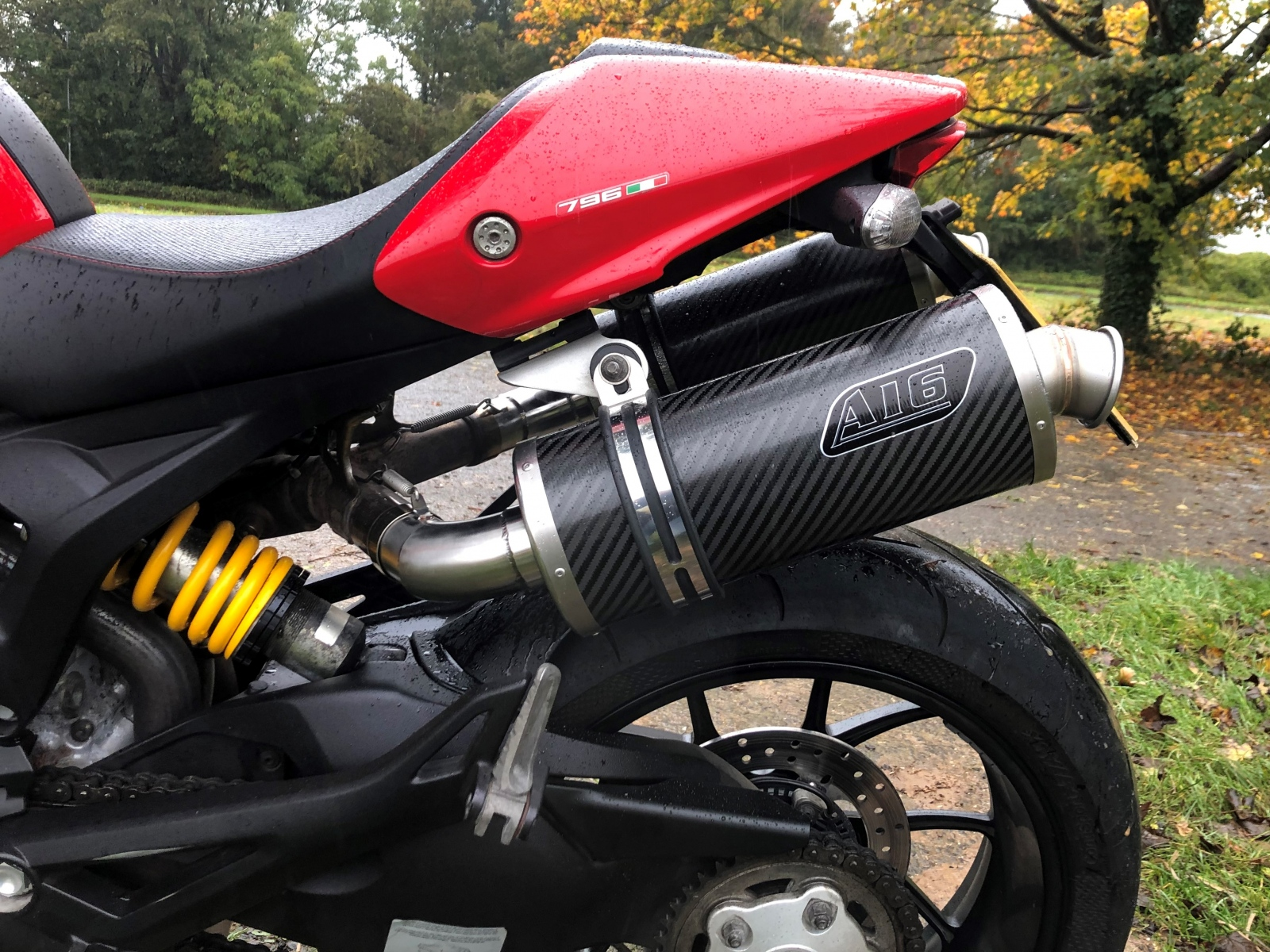 """Ducati 796 2010-2014<p> A16 Road Legal Carbon Exhausts with Titanium Type Spouts</p><br/><a href=""""https://a16roadnracesupplies.co.uk/product/a16-ducati-exhausts/"""">Buy now!</a>"""