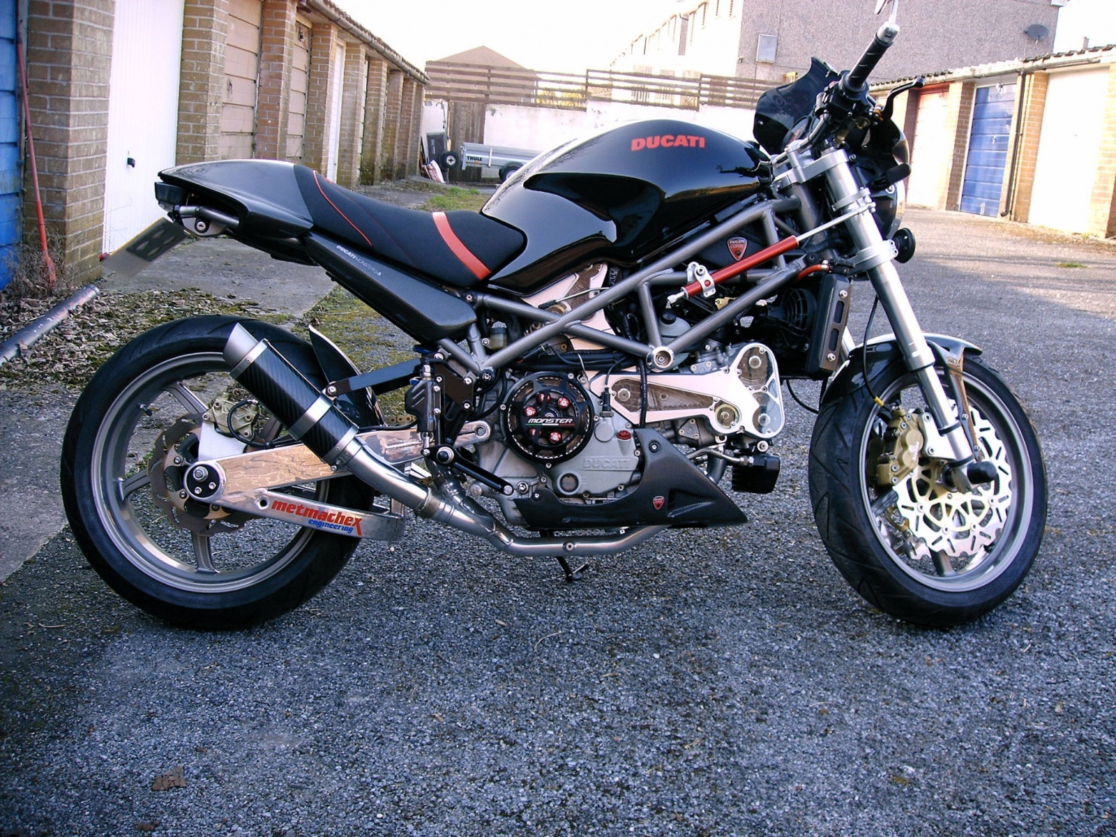 """Ducati Monster S4 2001-2007 <p>A16 Moto GP Carbon Exhausts with Titanium Type Outlets</p><br/><a href=""""https://a16roadnracesupplies.co.uk/product/a16-ducati-exhausts/"""">Buy now!</a>"""