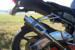 """Aprilia RSV 1000 Mille  1998-2004<p>A16 Stubby Stainless Exhaust with Slashcut Outlet</p><br /><br /><a href=""""https://a16roadnracesupplies.co.uk/product/a16-aprilia-exhausts/"""">Buy now!</a>"""