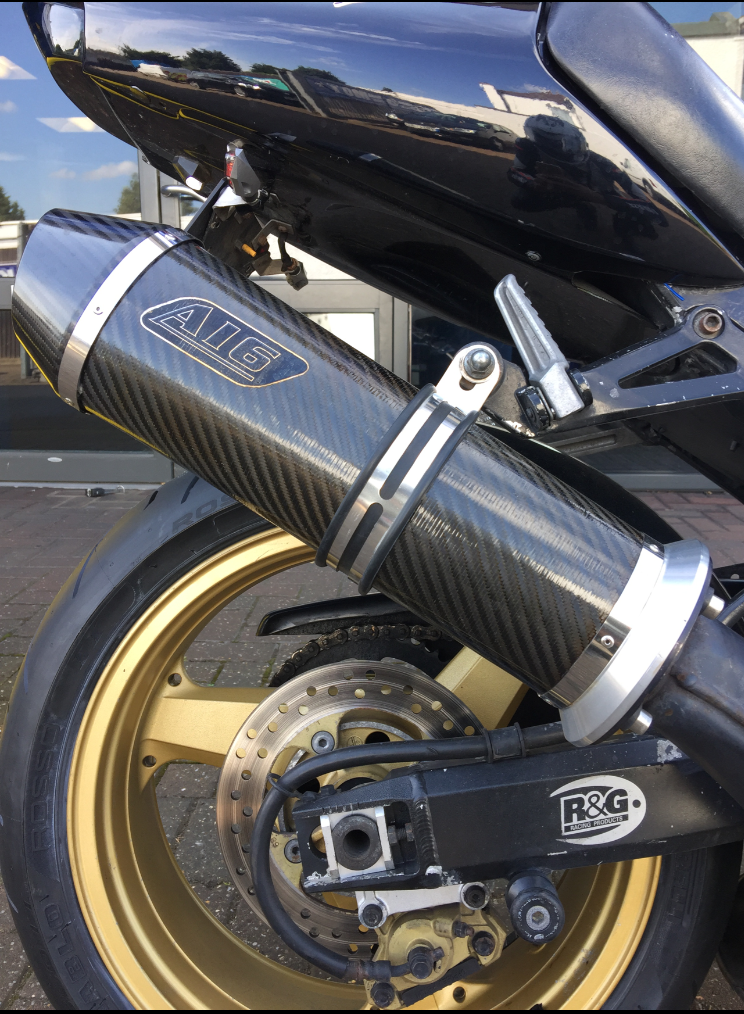 """Kawasaki ZX12R 1999-2005<p>A16 Road Legal Carbon Exhaust with Carbon Cap Outlet</p><br><a href=""""https://a16roadnracesupplies.co.uk/product/a16-kawasaki-exhausts/"""">Click here to Spec your A16 Kawasaki Exhaust now!</a>"""
