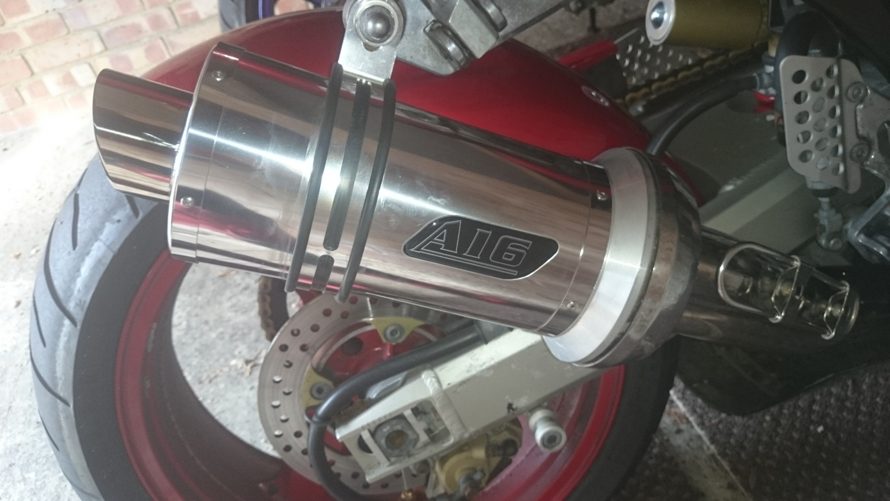 """Kawasaki ZX12R 1999-2005<p>A16 Stubby Stainless Exhaust with Polished Slashcut Outlet</p><br><a href=""""https://a16roadnracesupplies.co.uk/product/a16-kawasaki-exhausts/"""">Click here to Spec your A16 Kawasaki Exhaust now!</a>"""