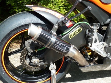 """Kawasaki ZX10R 2008-2010<p>A16 Moto GP Carbon Exhaust with Titanium Type Outlet</p><br><a href=""""https://a16roadnracesupplies.co.uk/product/a16-kawasaki-exhausts/"""">Click here to Spec your A16 Kawasaki Exhaust now!</a>"""