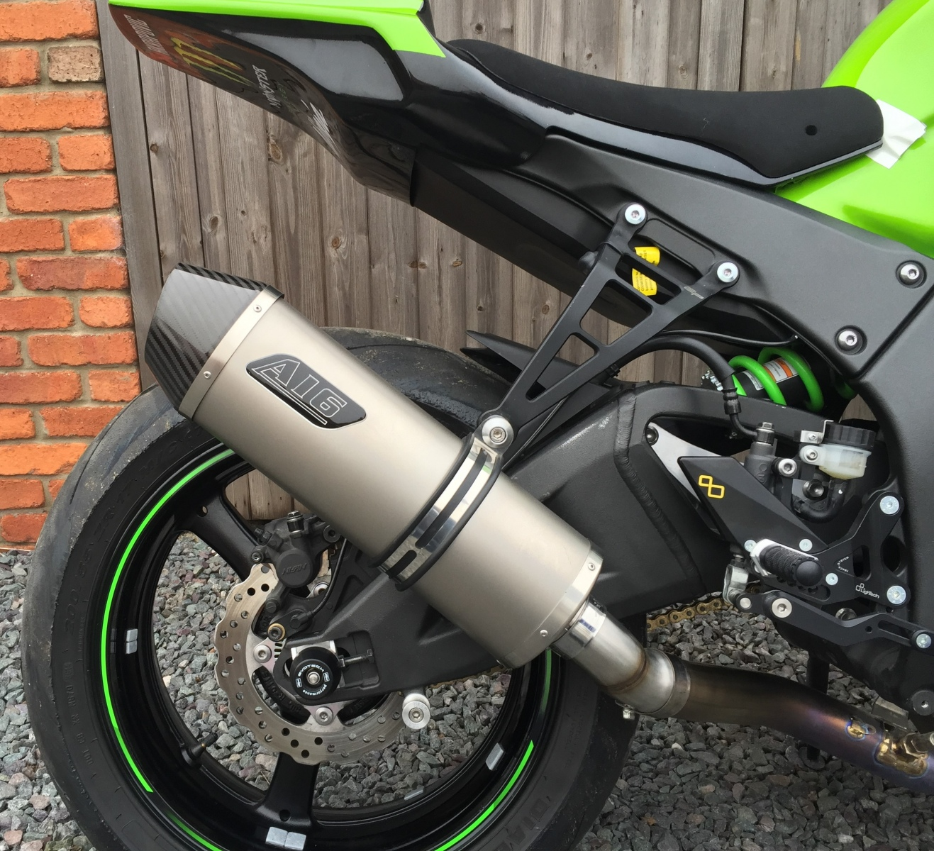 """Kawasaki ZX10R 2011-2015<p>A16 Road Legal Plain Titanium Exhaust with Carbon Cap Outlet</p><br><a href=""""https://a16roadnracesupplies.co.uk/product/a16-kawasaki-exhausts/"""">Click here to Spec your A16 Kawasaki Exhaust now!</a>"""