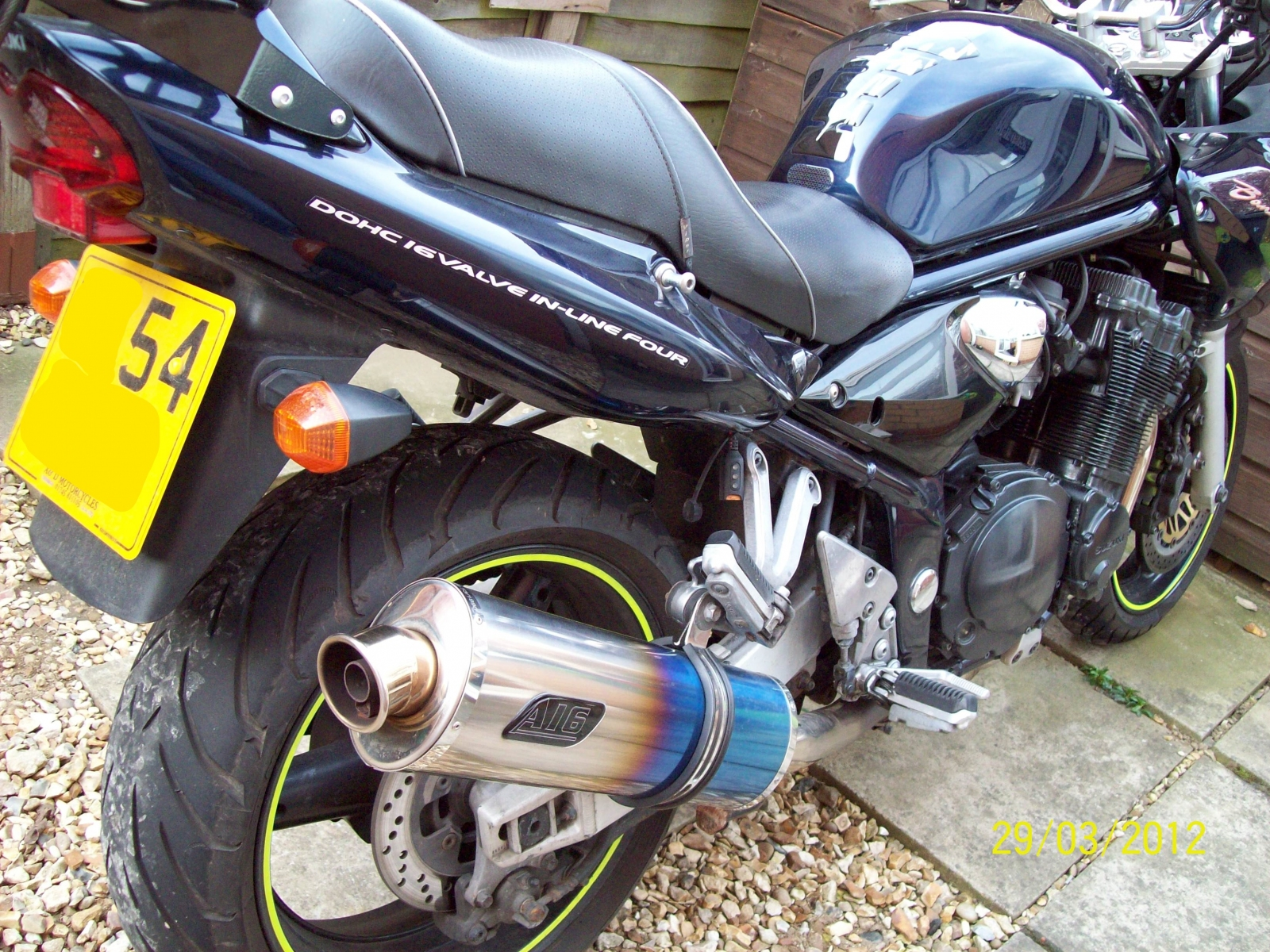"""Suzuki GSF 1200 Bandit <p>A16 Road Legal Coloured Titanium Exhaust with Traditional Spout</p><br /><a href=""""https://a16roadnracesupplies.co.uk/product/a16-suzuki-exhausts/"""">Buy now!</a>"""