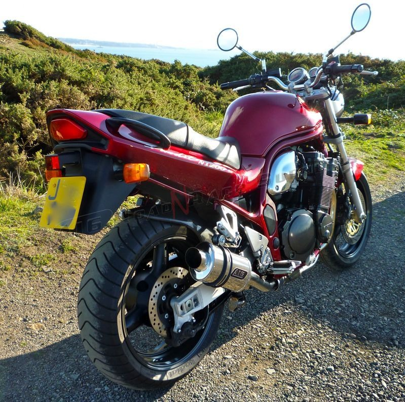 """Suzuki GSF 1200 Bandit <p>A16 Stubby Stainless Exhaust with Polished Slashcut Outlet</p><br /><a href=""""https://a16roadnracesupplies.co.uk/product/a16-suzuki-exhausts/"""">Buy now!</a>"""