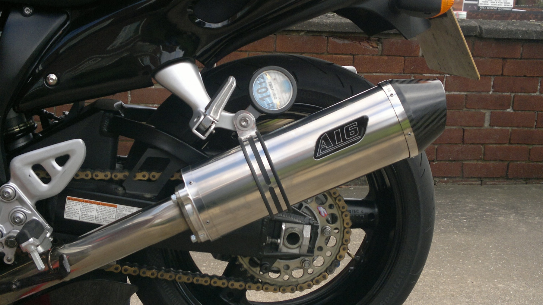 """Suzuki GSX1300 Hayabusa 1999-2007<p>A16 Road Legal Stainless Exhaust with Carbon Cap Outlet</p><br/><a href=""""https://a16roadnracesupplies.co.uk/product/a16-suzuki-exhausts/"""">Buy now!</a>"""