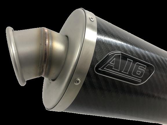 A16-Exhaust-Stubby-Carbon-with-Titanium-Type-Spout-Outlet-End-Close-Up