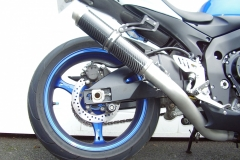 """Suzuki GSXR 600 750 2006-2007 K6 K7 <p>A16 Moto GP Carbon Exhaust with Titanium Type Outlet on Big Bore Titanium Type Pipework</p><br><a href=""""https://a16roadnracesupplies.co.uk/product/a16-suzuki-exhausts/"""">Buy now!</a>"""