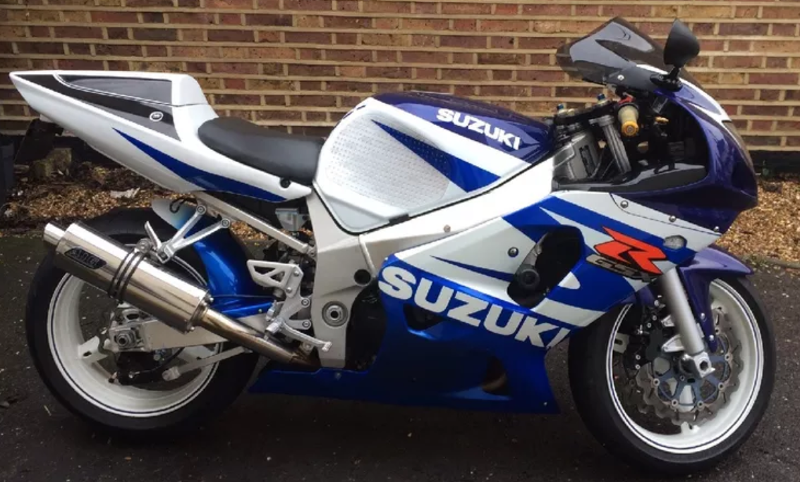 """Suzuki GSXR 600 750 K1-K5 2001-2005<p>A16 Road Legal Stainless Exhaust with Slashcut Outlet</p><br><a href=""""https://a16roadnracesupplies.co.uk/product/a16-suzuki-exhausts/"""">Buy now!</a>"""