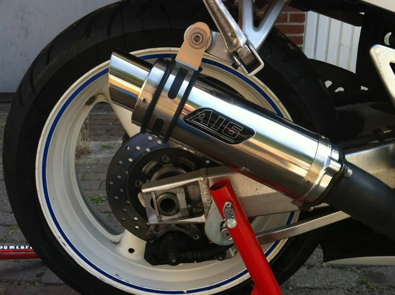 """Suzuki GSXR SRAD 1996-1999<p>A16 Moto GP Stainless Exhaust with Polished Slashcut Outlet</p><br/><a href=""""https://a16roadnracesupplies.co.uk/product/a16-suzuki-exhausts/"""">Buy now!</a>"""