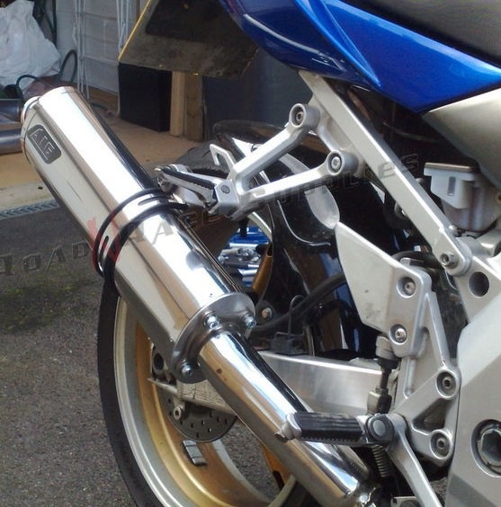 """Suzuki SV1000 - All Years<p>A16 Road Legal Stainless Exhaust with Traditional Spouts</p><br><a href=""""https://a16roadnracesupplies.co.uk/product/a16-suzuki-exhausts/"""">Buy now!</a>"""