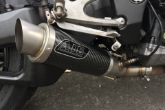 """Yamaha YZF R1 2007-2008 Bespoke Single Exhaust Conversion<p>A16 Moto GP Carbon Exhaust with Titanium Type Slashcut Outlet</p><br /><br /><a href=""""https://a16roadnracesupplies.co.uk/product/a16-yamaha-exhausts/"""">Buy now!</a>"""